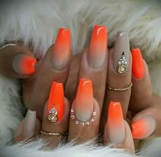 The best collection of 32 Cute Orange Nail Art Designs Nail Art Orange, Orange Ombre Nails, Nails Yellow, Orange Nail Designs, Gray Nails, Nail Art Designs, Acrylic Nails Orange, Coffin Nails, Stiletto Nails