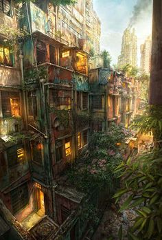 Jonas De Ro, is a digital artist doing freelance and in-house concept art, design and illustration for film and games. currently living in Tokyo, Japan. Fantasy City, Fantasy Places, Environment Concept, Environment Design, Fantasy Landscape, Landscape Art, Matte Painting, Anime Scenery, Environmental Art