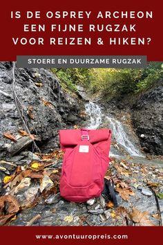 Osprey brengt dit jaar een nieuwe serie duurzame rugzakken uit, die zijn gemaakt van 100% recyclebare materialen. In Oostenrijk test ik de Osprey Archeon rugzak van 25 liter, een stoere en stevige outdoor rugzak. Gemaakt van gerecycled nylon en met een PVC vrije coating is het een duurzame keuze. In deze blog lees je mijn ervaringen met deze dagrugzak met een oprolbare bovenkant! Hiking Gear, Outdoor Woman, Travel Style, Outdoor Gear, Travel Tips, Bags, Women, Viajes, Handbags