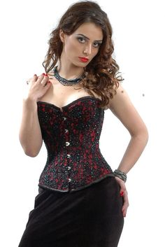87a5a6232e3 CorsetsQueen Beaded On Red Satin Hand Embroidery Authentic Steel Boned  Overbust Corset Front Busk Overbust Corset