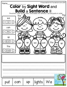 Color by Sight Word II and Build a Sight Word Sentence- This is a great activity to help children practice reading sight words and practice sentence structure!