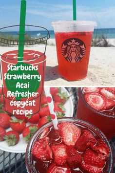 Make it at home - the Starbucks Strawberry Acai Refresher recipe. Super easy once you have all the ingredients in place. From Beauty and the Beets Starbucks Smoothies Recipe, Healthy Starbucks Drinks, Starbucks Recipes, Healthy Drinks, Acai Refresher Recipe, Starbucks Strawberry Acai Refresher, Starbucks Refreshers, Morning Drinks, Fruit Smoothies