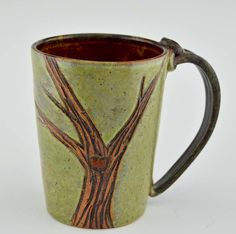 9db164ff41fb Pottery Mug with a Saying - Green or Blue with Tree Motif 14 oz