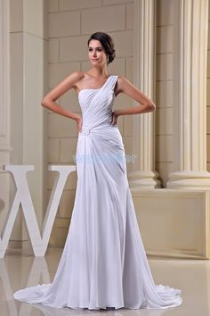 >> Click to Buy << free shipping modest 2016 david tutera design hot sale pleat one shoulder custom size plus size gown long white Bridesmaid Dress #Affiliate
