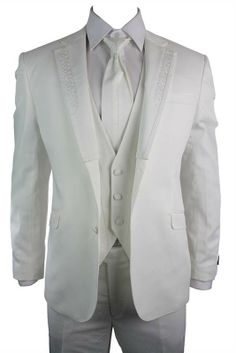 4 Piece Wedding or Party Suit (blazer, trouser, cravat, waistcoat) has a Design Trim On Lapel & Waistcoat and is an Unhemmed Trouser For Any Length. #clothing #style #suits #shopping #fashion #menswear #mensstyle #mensfashion