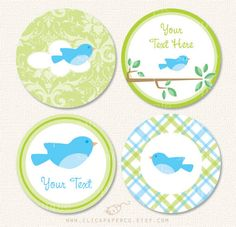 Bird+Cupcake+Toppers+for+Baby+Showers+or+Birthday+by+ClickPaperCo,+$5.25
