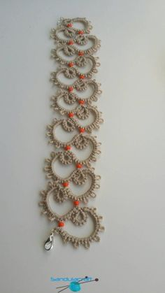 Tatted bracelet beige with orange beads tatting frivolite chiacchierino lacy jewelry delicate and elegant crochet cotton thread vintage Tatting Armband, Tatting Bracelet, Tatting Jewelry, Tatting Lace, Crochet Bracelet, Tatted Bracelet Pattern, Crochet Necklace Pattern, Crochet Flower Patterns, Lace Patterns