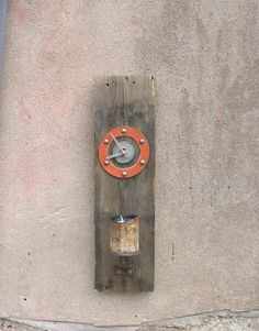 Wood Wall Clock, Industrial decor, clock votive holder. Reclaimed pallet and found objects by paulaart