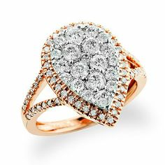 fabulous jewelry | Fabulous Rose Gold Jewelry: This Pear Shaped Diamond Ring in 14K gold ...