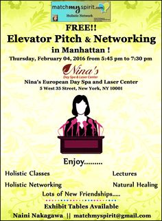 FREE!! Elevator Pitch & Networking in Manhattan! Join Us Email Registration http://conta.cc/1PE2lr7 Facebook Registration http://on.fb.me/1Qrd5Og