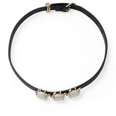 Alexis Bittar Women's Elements Multi Stone Convertible Leather Choker... ($120) ❤ liked on Polyvore featuring jewelry, necklaces, black, swarovski crystal choker, leather choker necklaces, leather necklaces, leather choker and long choker necklace