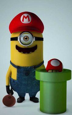 Well if there is Minion Mario then. where is Minion Luigi? Amor Minions, Despicable Me 2 Minions, Cute Minions, Minion Movie, Minions Quotes, Minions 2014, Minion Stuff, Evil Minions, Minion Party