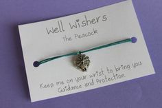 ♥ The message on the card is inspired by the charm and what it symbolises. For example : The Peacock Bracelet - Keep me on your wrist you bring you Guidance and Protection. Wish Bracelets, Travel Gifts, Friendship Bracelets, Peacock, My Etsy Shop, Place Card Holders, Charmed, Messages, Insects