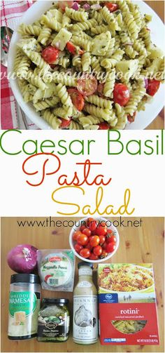 Caesar Basil Pasta Salad Recipe from The Country Cook. Pasta, salad dressing, cheese and a little extra ingredient to make this amazing. You will be the hit of the BBQ with this salad!