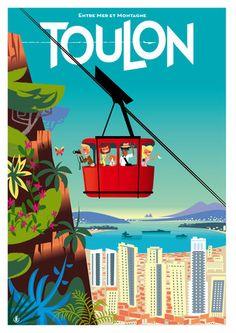 Toulon (Var), illustration By (Richard Zielenkiewicz). Illustrations Vintage, Illustrations And Posters, Vintage Maps, Vintage Travel Posters, Sailing Pictures, Tourism Poster, Travel Illustration, Am Meer, Grafik Design