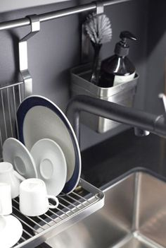 Hang kitchen items from rails if you are short on counter space