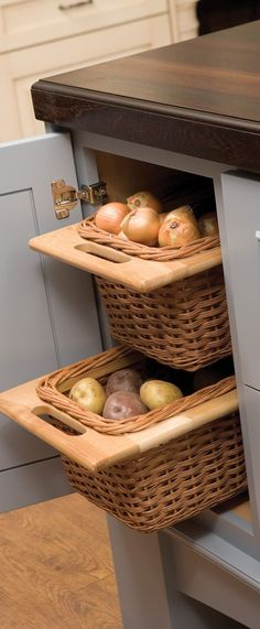 Open weave baskets offer popular storage for... pantry items that need air circulation, linen storage, bathroom organizing, clothing, decorative storage, children's toys, mudroom organization, misc kitchen storage, and tons more! | Dura Supreme Cabinetry