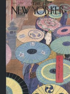The New Yorker June 1947 Cover Art - Rea Irvin Interesting combination of traditional Japanese woodblock print style with modern wartime imagery. The colorful opened umbrellas lead to the white soldier as focal point of the painting. The New Yorker, New Yorker Covers, Art And Illustration, Illustrations And Posters, Botanical Illustration, Japanese Art Modern, Japanese Prints, Traditional Japanese, Cover Art
