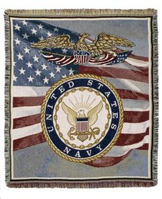 Personalized US Navy Military Tapestry Throw