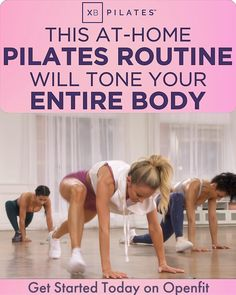 Workouts are only 30 minutes - no equipment required! Pilates Training, Pilates Workout Videos, Fitness Workout For Women, Fitness Tips, Health Fitness, Beginner Workout At Home, At Home Workouts, Workout Bauch, Get In Shape