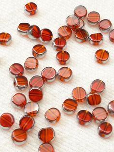 6mm Ruby Red Translucent Crystal Glass Coin by BellasBeadHabit