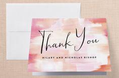 """Gallery Love"" - Modern Thank You Cards in Peach by Melanie Severin."