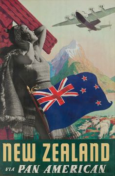 Vintage poster promoting travel to New Zealand via Pan American Tourism Poster, Poster Ads, Advertising Poster, Travel Ads, Airline Travel, Air Travel, Vintage Travel Posters, Vintage Postcards, Vintage Airline