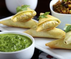 Olives for Dinner | Vegan Recipes and Photography: Curried Quinoa Samosas with Cilantro-Ginger Sauce