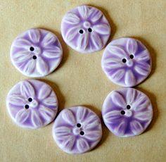 6 Handmade Porcelain Buttons - Lavender Daisy Buttons - Ceramic Buttons