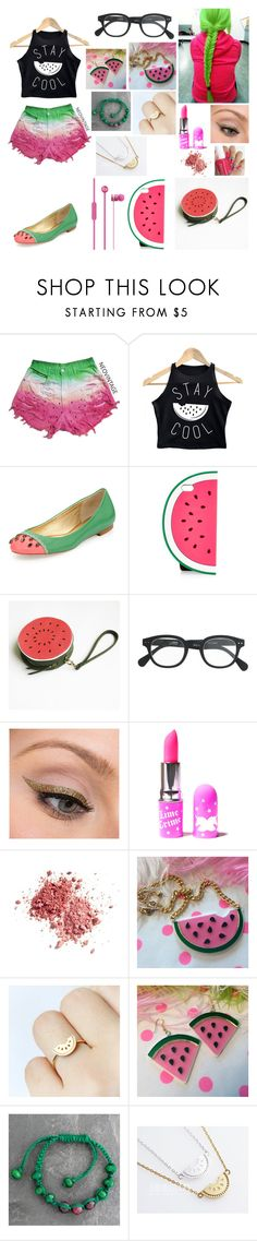 """Watermelon"" by cupcake125 ❤ liked on Polyvore featuring Kate Spade, Monsoon, J.Crew, LORAC, Lime Crime, NOVICA, women's clothing, women's fashion, women and female"