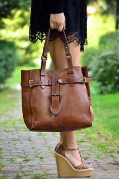 Mulberry bag, wedges, brown