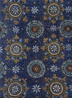 Blue Byzantine mosaic representing the night sky in the Mausoleum of Galla Placidia in Ravenna, Italy. Mosaic Art, Mosaic Glass, Mosaic Tiles, Tile Art, Ravenna Italia, Sicis Mosaic, Ravenna Mosaics, Décor Antique, Byzantine Art