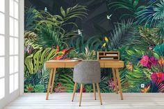 Modern Jungle Design Wallpaper Source by Of Wallpaper, Designer Wallpaper, Wallpaper Toilet, Modern Wallpaper, Leaves Wallpaper, Temporary Wallpaper, Adhesive Wallpaper, Tropical Wall Decor, Tropical Furniture