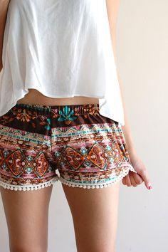 Brown Boho Tribal Beach Lounge Shorts w/ Dot by sereiclothing, $28.00