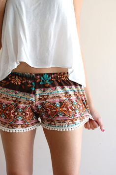 Brown Boho Tribal Beach Lounge Shorts w/ Dot by sereiclothing, $28.00