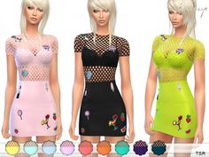 The Sims Resource: Mini Dress With Patches by ekinege • Sims 4 Downloads