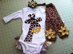 Gia the Giraffe Rufflebum Outfit with Matching Legwarmers and Headband.... If I ever have a girl!