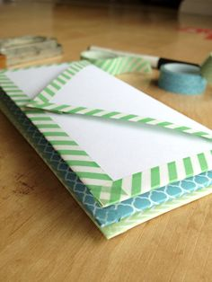 DIY Washi Tape Envelopes. Super cute easy way to dress up a letter.