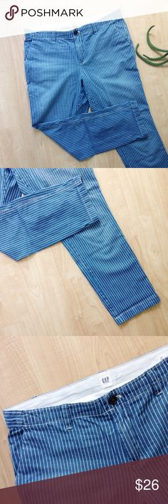 "GAP Girlfriend Fit Railroad Stripe Pants GAP blue and white striped railroad pants. Girlfriend fit. Sits low, loose, and straight leg hit at the ankle. Slit pockets. Approximately 32"" waist, 36.5"" long, 27.5"" inseam, and 10"" rise.  Good condition - light wear on the bottom as pictured.  (A22) GAP Pants Ankle & Cropped"