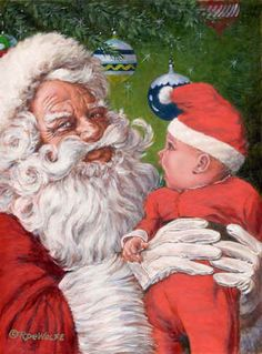 Vintage Distraught Santa Claus And Angry Baby Christmas Illustration