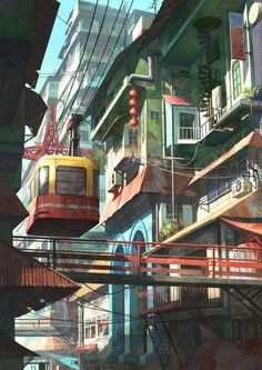 illustration | cable car in town by chong feigiap
