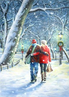 Christmas Scenes, Christmas Past, Winter Art, Christmas Pictures, Presents, Watercolor, December, Painting, Outdoor