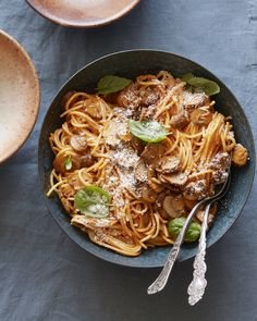 Roasted Red Pepper Pasta with Mushrooms from www.whatsgabycooking.com (@whatsgabycookin)