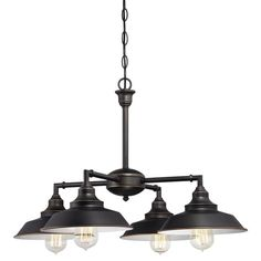 Westinghouse Iron Hill 4-Light Oil Rubbed Bronze Convertible Chandelier/Semi Flush Mount-6343300 - The Home Depot
