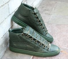 Balenciaga Arena sneaker (high tops) for Men in Green Lambskin, also available in various colors. Fall / Winter