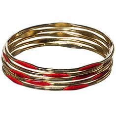 5 Gold Tone Bangle Bracelets with Red Colored Enamel Coating J and D Jewelry and More http://www.amazon.com/dp/B00Q236NVY/ref=cm_sw_r_pi_dp_v7Adwb1H7N01E
