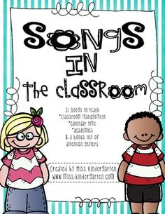 Songs in the Classroom. As a teacher, I always find myself singing songs! The students just respond so well to my directions when I add a tune to it! I've compiled a file of songs that I use in my classroom to help with classroom management, calendar time Kindergarten Songs, Preschool Music, Teaching Music, Kindergarten Classroom, Classroom Ideas, Preschool Readiness, Classroom Behavior, Music Classroom, Future Classroom