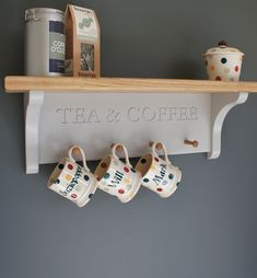Tea And Coffee Shelf With Mug Rack by Chatsworth Cabinets, the perfect gift for Explore more unique gifts in our curated marketplace. Wall Spice Rack, Rack Shelf, Wall Racks, Coffee Mug Display, Coffee Mugs, Hanging Mugs, Mug Rack, Shaker Style, Kitchens