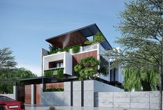 Thiết kế biệt thự hiện đại 10x20m sở hữu vẻ đẹp đến từ sự tinh tế | ROMAN Modern Bungalow Exterior, Modern House Facades, Modern Bungalow House, Modern House Design, Facade Architecture, Residential Architecture, Bungalow Landscaping, North Facing House, House Elevation