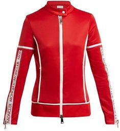 New Moncler Jersey stretch track top. Womens Clothing from top store Red Motorcycle, Red Logo, Post Workout, Moncler, Friends In Love, Lady In Red, Sportswear, Active Wear, Leather Jacket